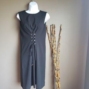 Calvin Klein A line dress tie in front waist.